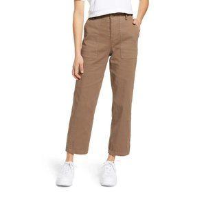BP High Waist Straight Leg Twill Ankle Pants 25